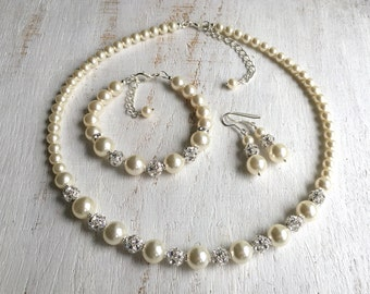 Bridal Pearl Jewelry Bridal Jewelry Set Pearl Jewelry Set Wedding Pearl Necklace Wedding Jewelry Set for Brides and Bridesmaids Swarovski