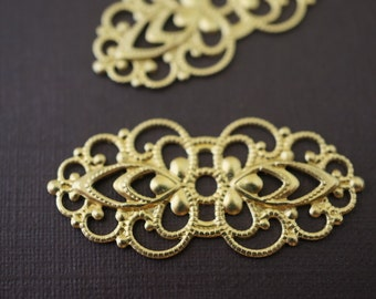 Small Raw Brass Filigree Wraps for Rings - 33mm x 16mm - 10 pcs