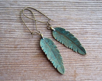 Verdigris Feather Earrings, Antiqued Brass Feather Earrings, Brass Feather Earrings, Boho Earrings, Verdigris Earrings, Blue Bird Feather