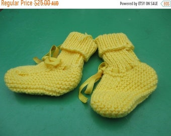ON SALE Beautiful Yellow Socks Hand Knitted for a Baby Boy or Girl.