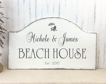 Personalized Beach HOUSE, Shore House rustic shabby sign,  custom family vacation sign, realtor gift, beach decor