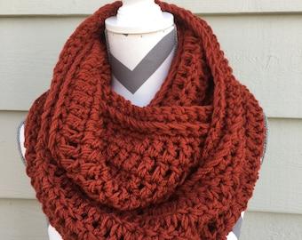 Terracotta Crochet Cowl, Crochet Infinity Scarf,Rust Scarf,Women's Red Cowl, Crochet Infinity Scarf, Crochet Circle Scarf, Neckwarmer