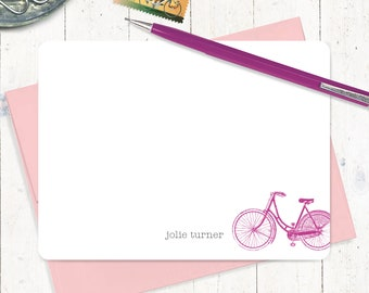 personalized note cards - VINTAGE GIRLS BICYCLE - bike cards - set of 12 flat note cards - stationery - stationary - women's bike