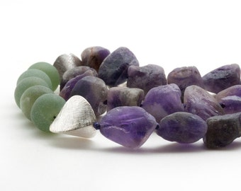 Raw Amethyst Necklace, Purple Amethyst and Green Jade Chunky Statement Necklace, Gemstone Bold Necklace, Raw Stone Jewelry, Handmade Jewelry