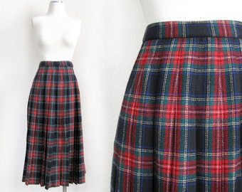 Vintage 70s 80s Red Plaid Pleated Skirt - Size 4 - Pendleton Wool Black Stewart Scottish Tartan Women's Midi Skirt - Christmas Holiday Wear