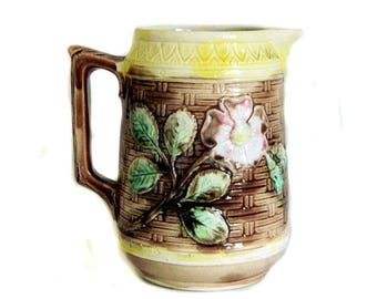 Antique Majolica Pitcher Basketweave and Flowers