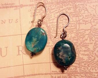 "Vintage Turquoise Silver tone Earrings,Southwestern, 1 3/4"" by 5/8"",dangle,Southwestern,fun flirty casual,stone beads"