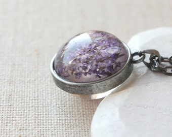 Pressed flower necklace, Dried flower terrarium pendant, lavender pendant necklace, botanical jewelry brass silver or gunmetal chain N98