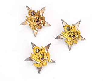 Army Officer Eagle Crest 1950s Vintage Military Star Pin, VJ #896