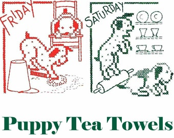 Day of the Week Tea Towels Pattern Puppy Towels Embroidered Towels PDF INSTANT DOWNLOAD 7 Kitchen Towels Retro Kitchen Towels Set Dog Decor