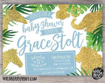 Jungle Safari Baby Shower Invitation with Free Shipping or Personalized Printable | Safari Blue Gold Glitter