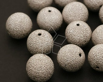 ME-024-OR / 6 Pcs - Sanding Bead, Silver Plated over Brass / 10mm