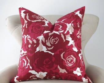 Red Roses Pillow Cover -MANY SIZES- Floral Pattern, Euro Sham, Lumbar, Decorative Throw, Farrah Raspberry Slub Premier Prints