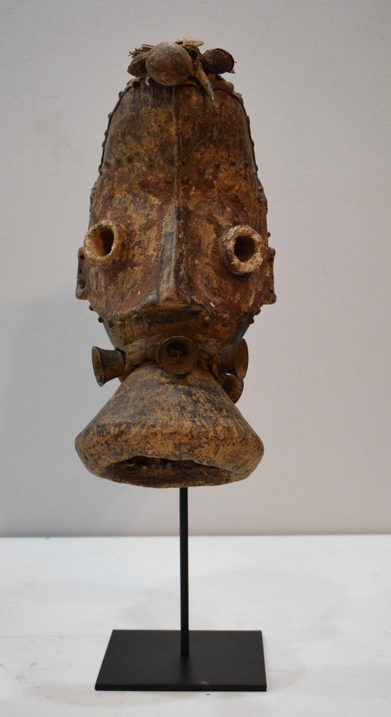 African Mask Dan Guere Tribe Cote d'Ivorie Bells Spirit Mask Liberia Africa Dan Mask