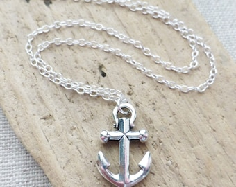 Anchor Sterling Silver Necklace, Nautical Necklace, Anchor Charm Necklace, Layering Necklace, Ocean Charm, Gift for Her