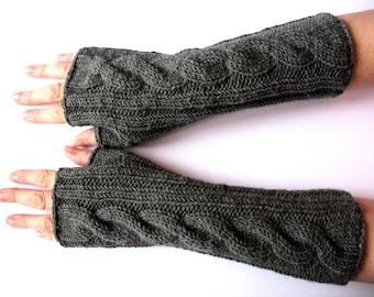"Fingerless Gloves Long Dark Gray 12"" Mittens Arm Warmers, Acrylic Wool"