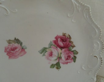 Vintage Shabby Chic Romantic Home Roses Ornate Display Plate Pastels