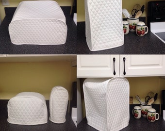 White Small Appliance Covers Set Quilted Fabric Build Your Own Dust Covers Collection Made To Order