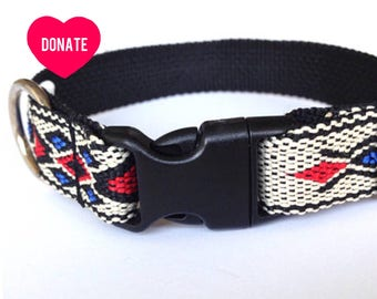Small dog collar: woven bright blue and red, black and white with Native American pattern