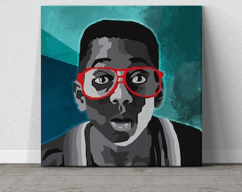 Urkel, Steve Urkel, Family Matters, TGIF, 90s, Pop Art, WPAP Art, Nerd Art, Geek Art, Canvas Wall Art, Affordable Wall Art, Colorful Canvas