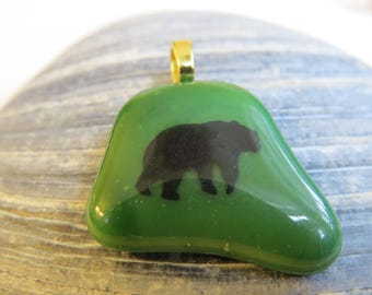0171 - Black Bear on Green Fused Glass Pendant