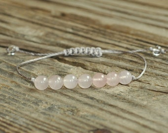 Rose Quartz Yoga Bracelet, Heart Chakra, Fifth Chakra, Gemstone Therapy, Meditation Bracelet, Wish Bracelet, Reiki, love