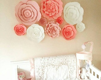 Set of 10 Flowers - Paper Flowers | Paper Flower Wall for Nurseries | Baby Nursery Decor | Backdrop for Weddings | Flowers for Events
