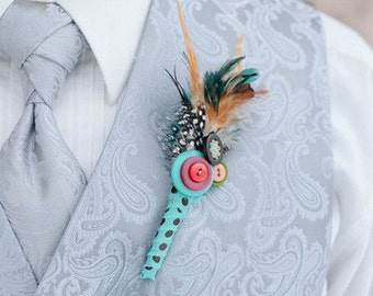 Fancy Feathered Boutonniere