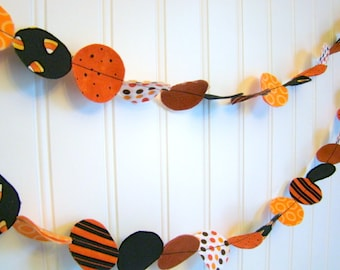 Fabric Garland Halloween party decoration Orange and Black 6 feet