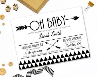 Modern baby shower invitation printable,tribal arrow baby shower invitation,black white baby shower invitation,geometric baby shower