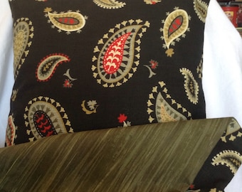 Decorative Pillow Case Set of Black and Green Paisley Print Handmade