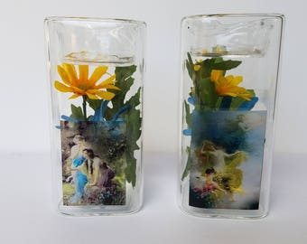 4.75 in x 5in Glass tealight candle holder pair with Fairies & Flowers #A
