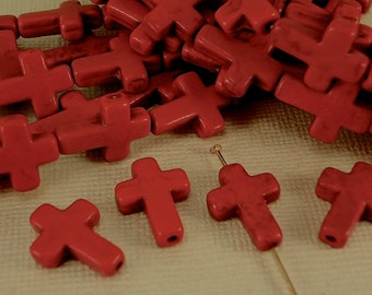 4 Cross Pendant Charms Howlite Sideways Cross Beads Red 12mm x 16mm  1/2 x 3/4 inch  Natural Beads Gemstone Cross Christmas Red