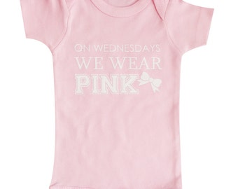 On Wednesday We Wear pink Baby Clothes, Mean Girls, Girls Clothing, Pink Bodysuit, Baby Gift, Wednesdays we wear pink, Baby Clothing #77