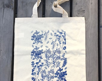 Tote bag with berries, Cotton tote, Garden tote bag, Handmade tote, Forest plants tote, Blue tote, Gift for her, Screen printed tote