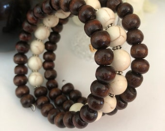 Wooden and Natural color bead Memory Wire Bracelet