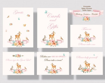 WOODLAND ANIMALS BABY Shower Signs for Girl   Deer Baby Shower Printable Table Signs For Girl   Forest Animals Baby Shower Signs Pink 0260