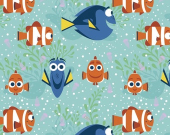 """Disney Fabric - Finding Dory Fabric - All Smiles 100% cotton fabric 43"""" wide ***SC588***"""