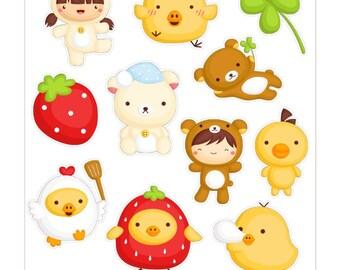 Cute Bear Stickers // D003