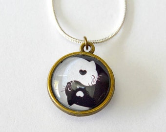 Double Sided Pendant Necklace Yin Yang Cats Black and White Cat - Cat Lovers Jewelry for her