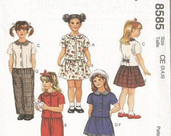 McCall's 8585 Girls Top, Pants, and Skirt Pattern SZ:  3-5