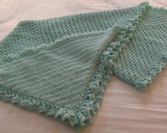 Green Hooded Granny Square Blanket