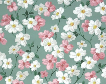 1940s Vintage Wallpaper by the Yard - Floral Vintage Wallpaper Pink and White Dogwood Blossoms on Green