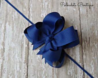 Royal Blue Headband Double Layered Infant Toddler Bowband Royal Blue Baby Headband Blue Headband Baby Headband Royal Blue Bow