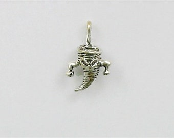 Sterling Silver 3-D Cyclone or Tornado Charm