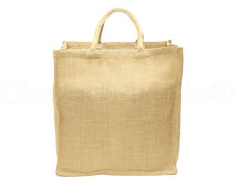 "25 Pk - Large Burlap Shopping Bag - 16"" x 17"" x 8"" - Premium Natural Jute Burlap - Soft Webbed Cotton Handles - Strong Tote Book Bag Sack"