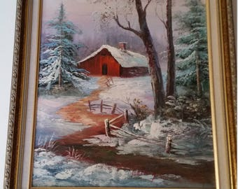 """Oil painting""""small hut in the woods at winter"""""""