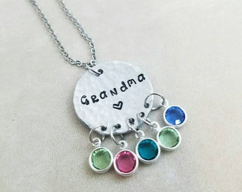 Personalized Grandma Necklace - Gift From Grandchildren - Birthstone Charms - Customized Gift For Nana