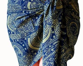 Beach Sarong Skirt Batik Pareo Swimsuit Cover Up Dark Blue & Tan Women's Clothing Short or Long Chiffon Sarong - Navy Blue Chiffon Scarf
