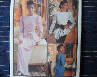 vintage 1980s Butterick sewing pattern 3047 Essence collection misses two piece dress top and skirt size 12